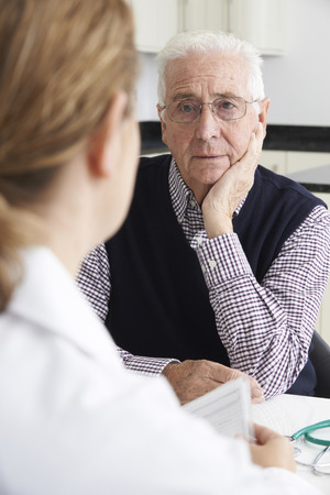 doctor appointment: Worried Senior Man Meeting With Doctor In Surgery