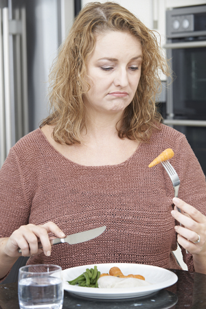 fed up: Woman On Diet Fed Up With Eating Healthy Meal