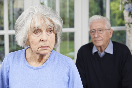 dementia: Unhappy Senior Couple At Home Together
