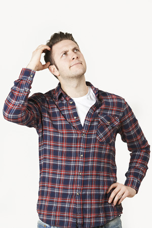 people: Man Thinking Of Idea Against White Background