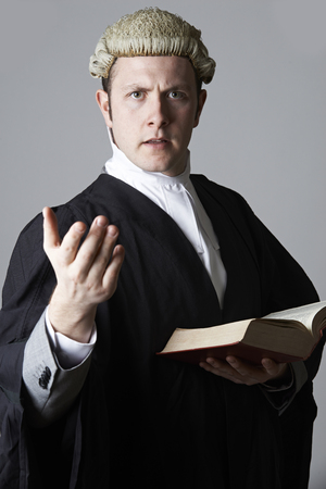 divorce court: Portrait Of Lawyer Holding Brief And Book Making Speech