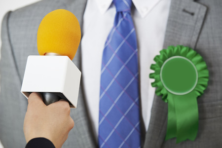 congressman: Politician Being Interviewd By Journalist During Election