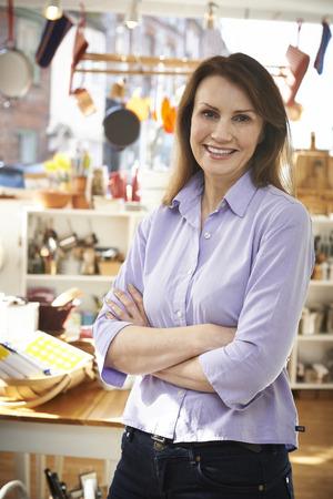 homeware: Owner Of Homeware Shop Standing In Store