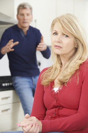 arguement: Mature Couple Having Argument At Home