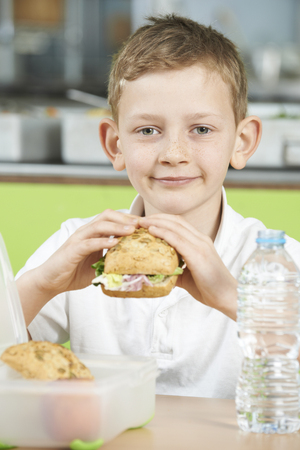 school cafeteria: Pupil Sitting In School Cafeteria Eating Healthy Packed Lunch