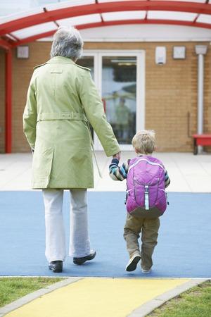 grandson: Grandmother Taking Grandson To School