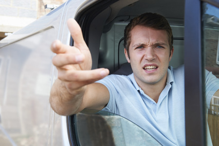 aggressive people: Angry Driver In Van