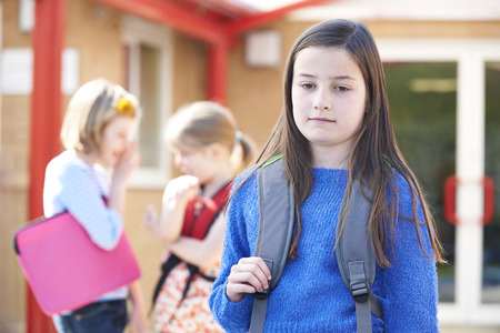 rejection sad: Unhappy Girl Being Gossiped About By School Friends