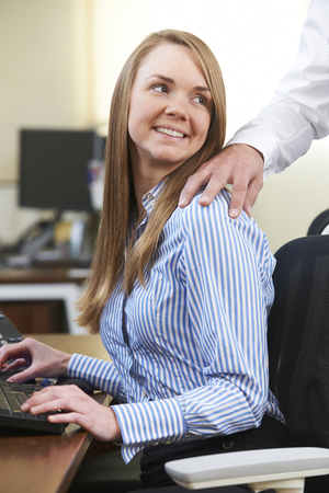happy worker: Businessman And Businesswoman Having Affair In Office