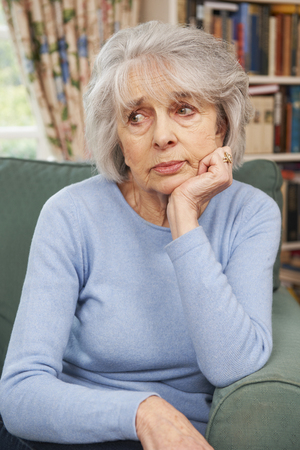 lonely: Unhappy Senior Woman At Home