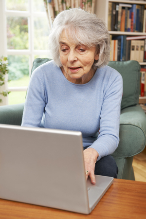 the ageing process: Senior Woman Using Laptop At Home