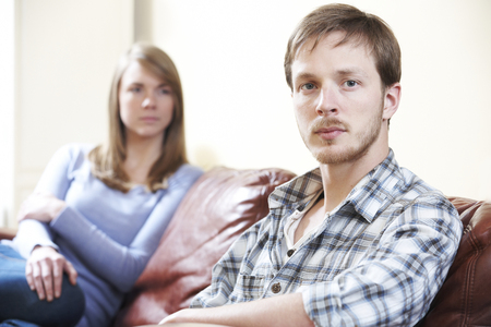difficulties: Couple With Relationship Difficulties At Home Stock Photo