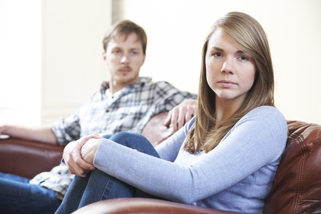 relationship difficulties: Couple With Relationship Difficulties At Home Stock Photo