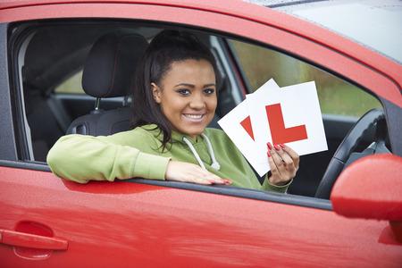 test passed: Teenage Girl Passing Driving Exam Stock Photo