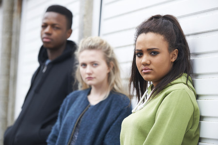 Group Of Teenagers In Urban Environment Stock Photo