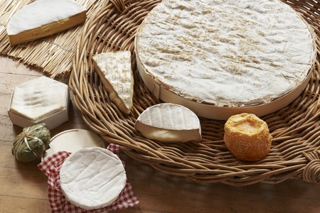 grocers: Selection Of Soft Cheeses Viewed From Above