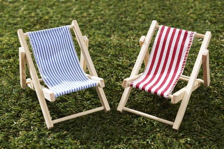 deck chairs: Two Model Deckchairs On Grass