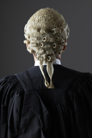 gown: Barrister Wearing Wig And Gown From Behind