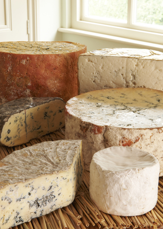 grocers: Selection Of Blue Cheeses On Display In Delicatessen
