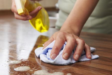 personal de limpieza: Mujer que usa el Spray de limpieza en superficie de madera