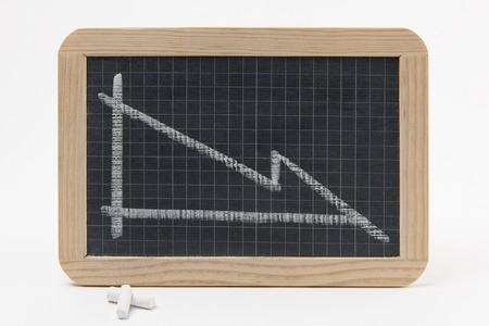 and decline: Blackboard With Graph Showing Recession