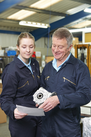 19 year old: Engineer And Apprentice Looking At Component In Factory Stock Photo