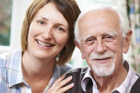 senior adult man: Senior Man With Adult Daughter At Home
