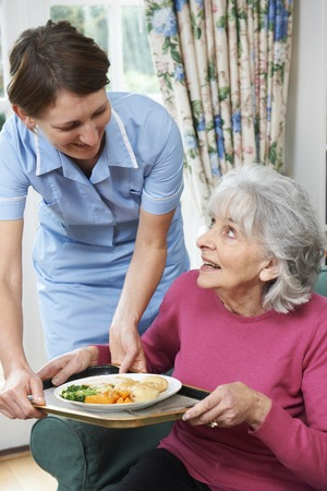 care at home: Carer Serving Lunch To Senior Woman