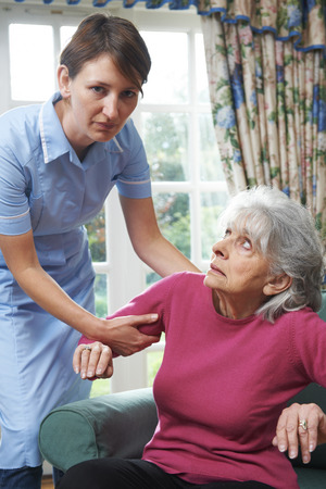 the ageing process: Care Worker Mistreating Elderly Woman