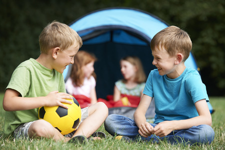 7 year old girl: Two Boys Talking On Camping Trip