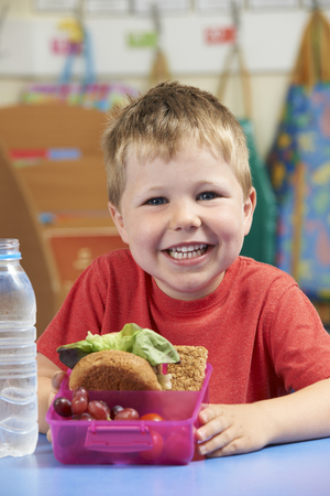 lunch: Elementary School Pupil With Healthy Lunch Box