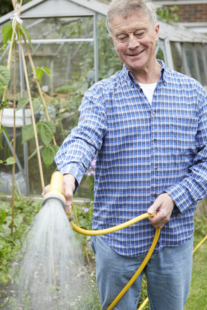 water spray: Senior Man Watering Garden With Hosepipe
