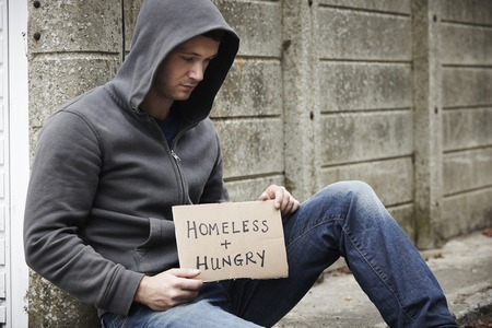 begging: Homeless Young Man Begging On Street
