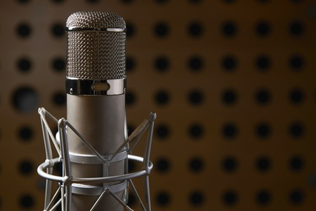 sound studio: Close Up Of Microphone In Recording Studio Stock Photo