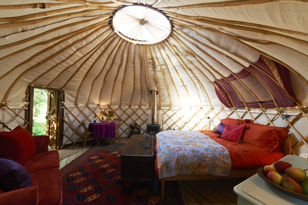 camping tent: Interior Of Empty Holiday Yurt