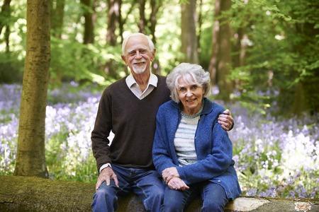 bluebell woods: Senior Couple Sitting On Log In Bluebell Woods Stock Photo