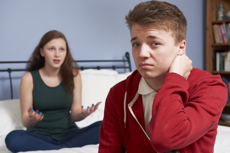 relationship difficulties: Teenage Couple Having Relationship Difficulties Stock Photo