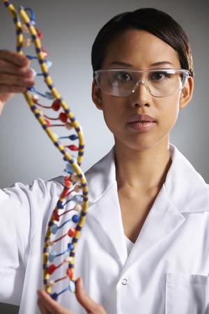 molecular model: Portrait Of Scientist With Molecular Model Stock Photo