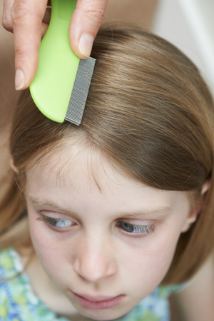 Mother Checking Daughters Hair For Head Louse Stock Photo