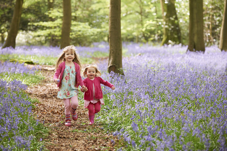 in the woods: Two Girls Running Through Bluebell Woods Together Stock Photo