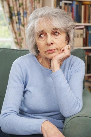 sadness: Unhappy Senior Woman At Home