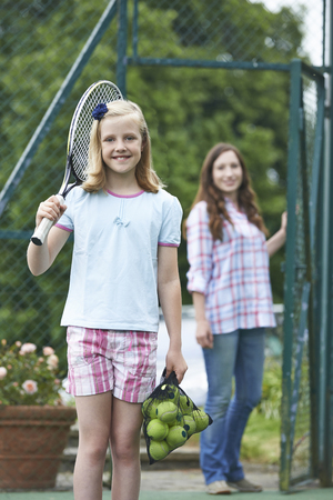 dropping: Mother Dropping Daughter Off For Tennis Lesson