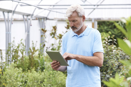 sales assistant: Sales Assistant In Garden Center With Digital Tablet Stock Photo