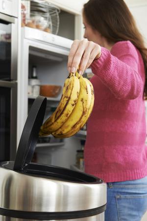 Femme jeter Out Of Date de l'alimentation dans le réfrigérateur Banque d'images