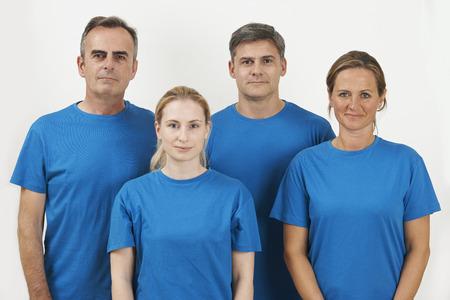 customer support: Studio Portrait Of Staff Wearing Uniform Against White Background Stock Photo
