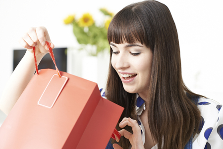shopping trip: Female Vlogger Presenting Video About Shopping Trip Stock Photo