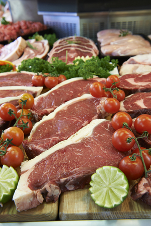 meat counter: Display Of Fresh Meat In Butchers Store