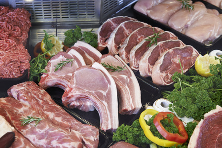 minced meat: Display Of Fresh Meat In Butchers Store