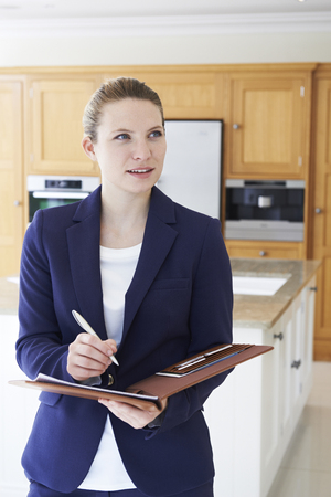 Realtor Looking Around Vacant New Property Stock Photo