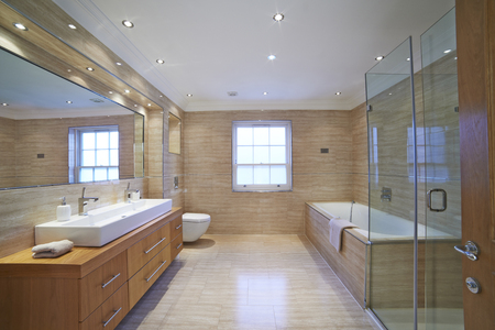 bathroom interior: Interior View Of Beautiful Luxury Bathroom